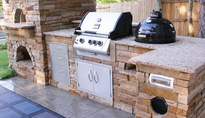 Finished outdoor kitchen island colorado hi tech appliance for Outdoor kitchen smoker plans
