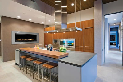 Modern Kitchen Fireplace Thortonco