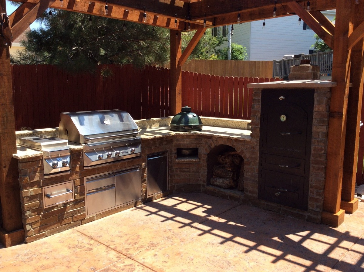 Large Outdoor Kitchen Cabinets With Wood Fired Smoker