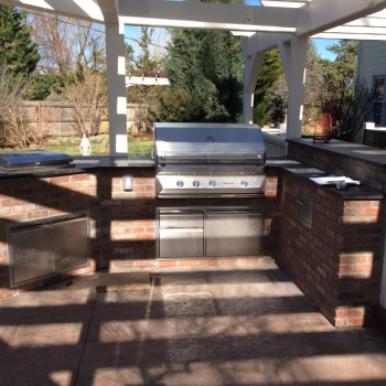 Brick Outdoor Kitchen Island In Superior, Co. Custom Built To Blend  Existing Deck And Patio.