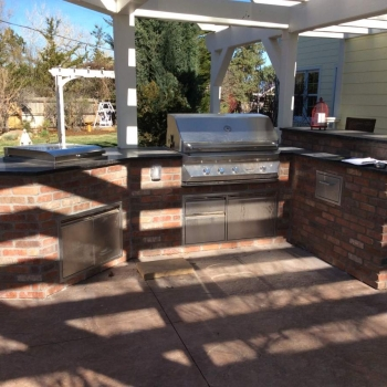 Brick Outdoor Kitchen Island In Superior, Co. Custom Built To Blend  Existing Deck And Patio. Kitchen Island Unique Outdoor Kitchen Addition