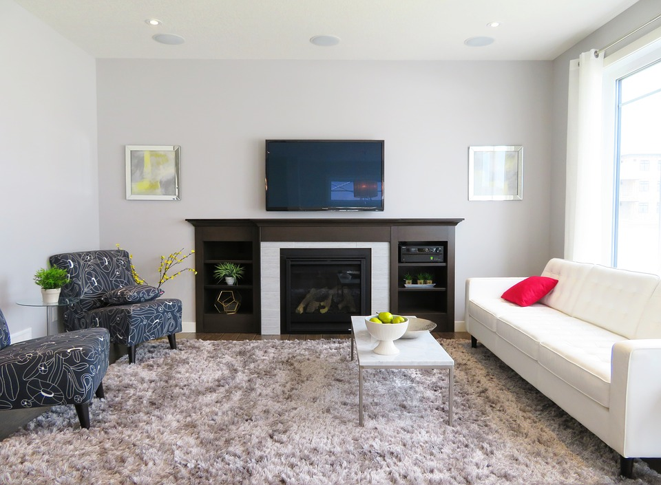 energy-efficient gas fireplace in the living room